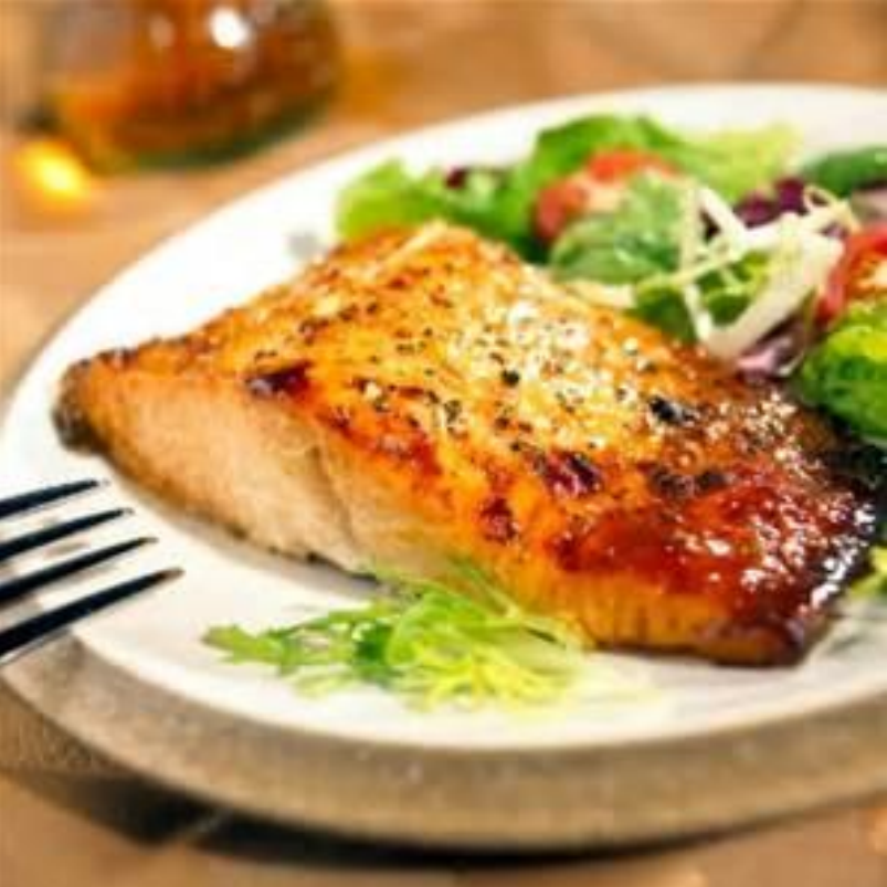 Grilled Salmon with Blackberry-Ginger Balsamic Raisin Glaze