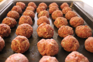 Chicken Meatballs - cover with Franks Hot Sauce, and enjoy!